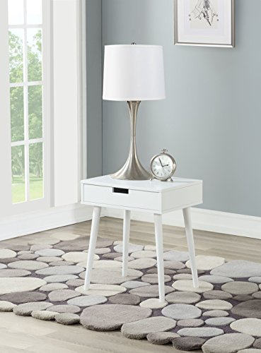 White Color Hardwood End Side Table Nightstand with Drawer by Legacy Decor