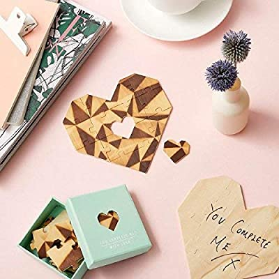 Heart Shaped Jigsaw Puzzle Unique Love Card With Personalized Romantic Message - You Complete Me - 10 Piece Set, Mint: Office Products