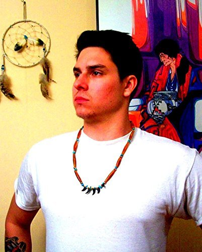 (NATIVE AMERICAN Claw, Ram horn, Turquoise, necklace, men's necklace, Choctaw handmade,
