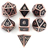 Set of Solid Metal Dice – Shiny Copper with Black Enamel Great for Role Playing Games(RPG)