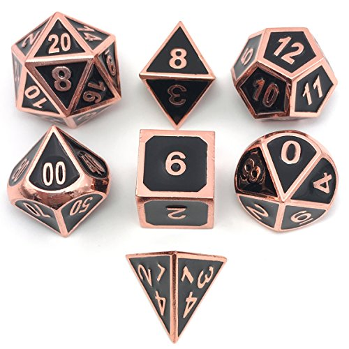Marbled Enamel - IvyFieldDice Set of Solid Metal Dice - Shiny Copper with Black Enamel Great for Role Playing Games(RPG)