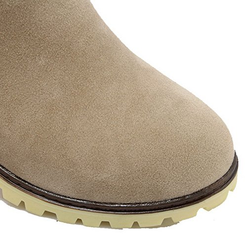 Allhqfashion Womens Frosted Pull-on Ronde Dichte Neus Kitten-hakken Lage Laarzen Beige