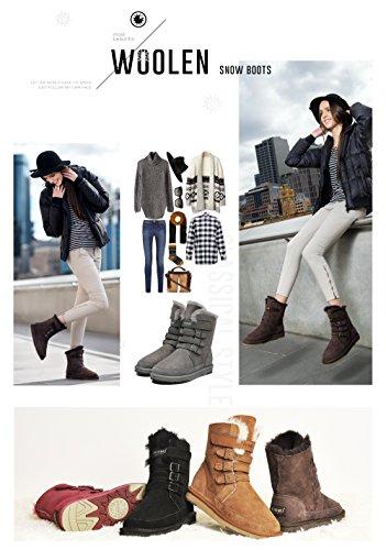 AU&MU AUMU Womens Mid Calf Snow Boots Short Winter Boots Grey Size 8 by AU&MU (Image #7)