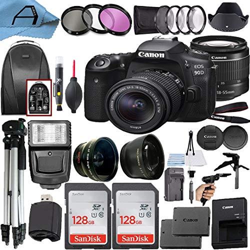Canon EOS 90D DSLR Camera 32.5MP Sensor with EF-S 18-55mm Zoom Lens + 2 Pack SanDisk 128GB Memory Card + Backpack…