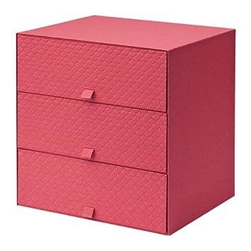 Pallra Mini Kommode Mit 3 Schubladen Rot Grosse 31 X 26 X 31 Cm
