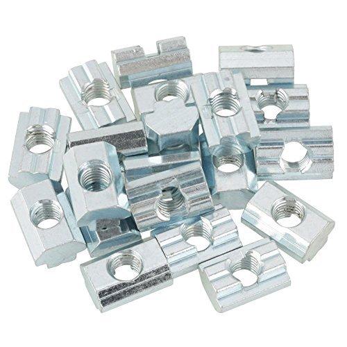 20pcs Standard-Gleitmutter verzinkter Kohlenstoffstahl Schiebe T Nut Mutter fü r Aluminiumprofil Zubehö r(T-Nut-Muttern Typ 40 M8) Hilitand