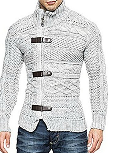 Karlywindow Men's Cable Knitted Oplique Zip Button Front Long Sleeve Cardigan Sweater