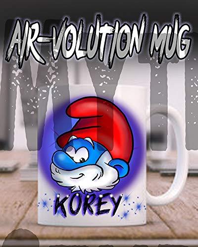 (Personalized Airbrush Papa Smurf Ceramic Coffee Mug)