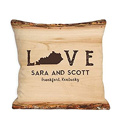 "Personalized Love Established Throw Pillow - Kentucky, 14.5"", Removable Sham"