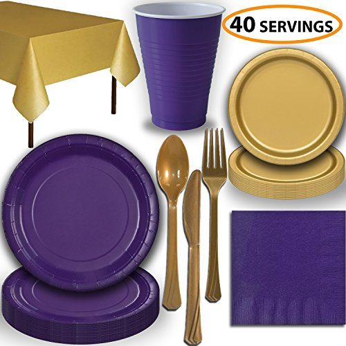 Disposable Party Supplies, Serves 40 - Purple and Gold - Large and Small Paper Plates, 12 oz Plastic Cups, Heavyweight Cutlery, Napkins, and Tablecloths. Full Two-Tone Tableware Set -