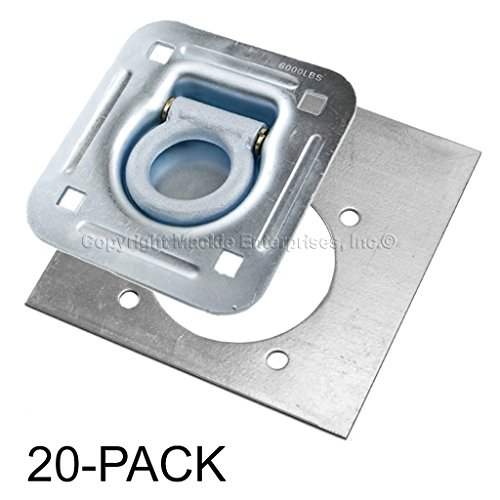 Recessed D-Ring 6,000 lb. Cap. Tiedown w/ Backing Plate - 20 Pack by Mackie Ent Inc