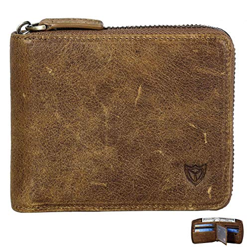 RFID Men's Leather Zipper wallet Zip Around Wallet Bifold Multi Card Holder Purse (Tanned Coffee)