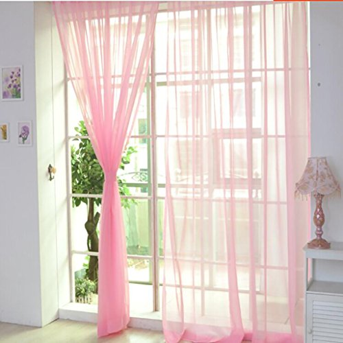 1Pc Floral Door Window Voile Tulle Valance Curtain (Coffee) - 3