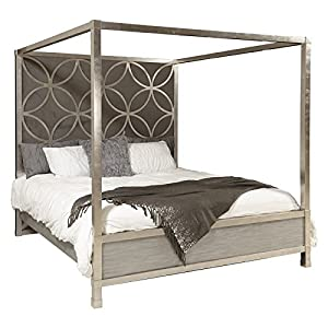 Home Fare Velvet Quatrefoil King Canopy Bed