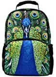 Animal Face 3D Animals Peacock Peafowl Backpack 3D Deep Stereographic Felt Fabric