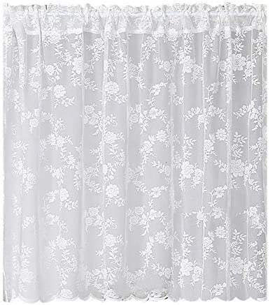 BAIHT HOME Rod Pocket Lace Sheer Curtain White Mesh Room Divider 78 Inch Long Embroidery Floral Voile Cabinet Curtain Kitchen Bedroom Door Curtain Small Window Curtain Drape