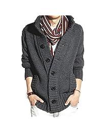 Men's Casual Plain Knit Cardigan Sweater High Neck