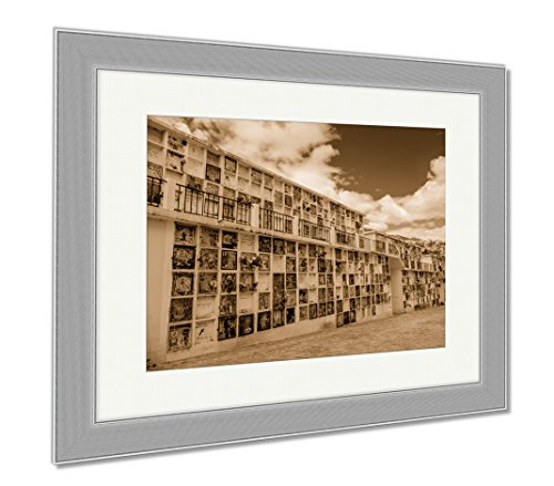 Ashley Framed Prints Typical Catholic Tomb Wall With Graves Part Of San Diego Cemetary In Quito, Wall Art Home Decoration, Sepia, 30x35 (frame size), Silver Frame, AG6523039 by Ashley Framed Prints