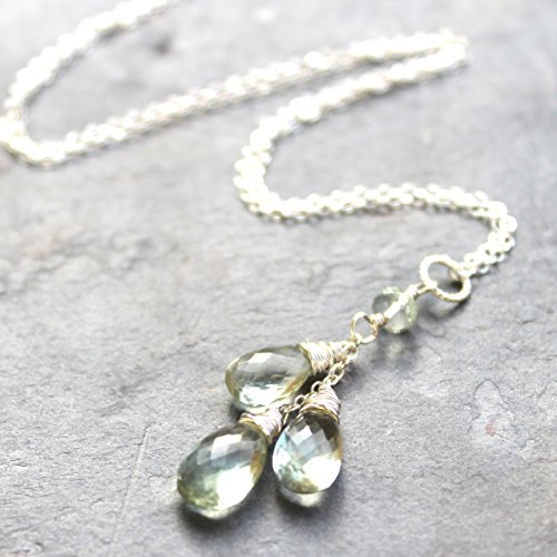 Prasiolite Necklace Sterling Silver Green Amethyst Trio Teardrops Pendant Mint 18 Inches