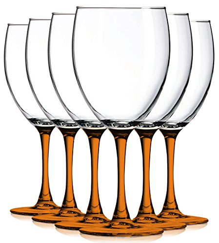 Orange Nuance Wine Glassware with Beautiful Colored Stem Accent - 10 oz. set of 6- Additional Vibrant Colors Available by TableTop King