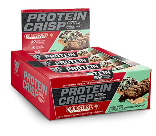 BSN Protein Crisp Bar by Syntha-6, Cold Stone Creamery Flavor-Mint Mint Chocolate Chip-Low Sugar Whey Protein Bar, 20g of Protein, 12 Count (Packaging may vary) ()