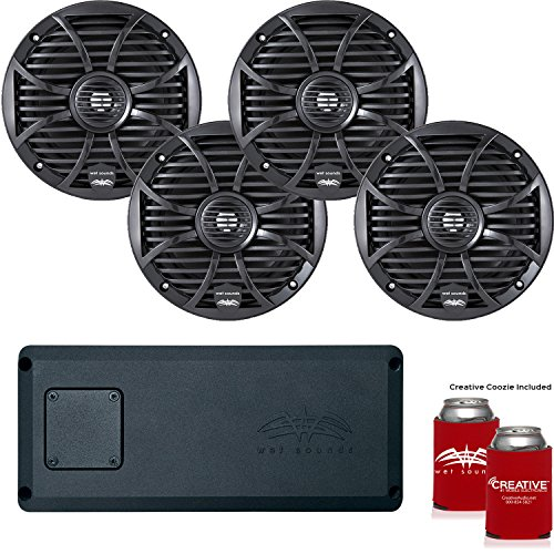 """Wet Sounds System: Two Pairs of SW-65i-B 6.5"""" Black coaxial Speakers and a STX4 Micro Marine & Powersports Amplifier"""