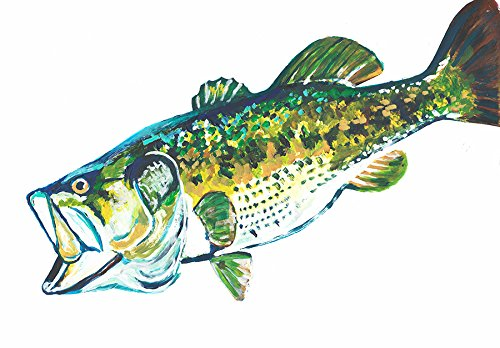 Hand Signed Painting (Largemouth Bass Wall Art, Fishing Decor, Bass Painting Print, Hand Signed Angling Gift By Jack Tarpon, Vivid Tarpon Painting)