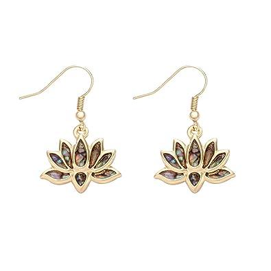 Amazoncom Manzhen Lotus Flower Blossom Earrings Nature Abalone