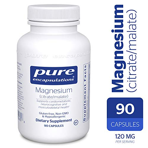 Magnesium Citrate 90 Capsules - Pure Encapsulations - Magnesium (Citrate/Malate) - Hypoallergenic Supplement Supports Nutrient Utilization and Physiological Functions* - 90 Capsules