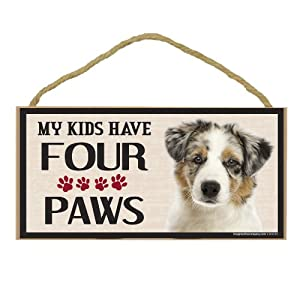 Imagine This Wood Breed Four Paws Sign, Australian Shepherd 14