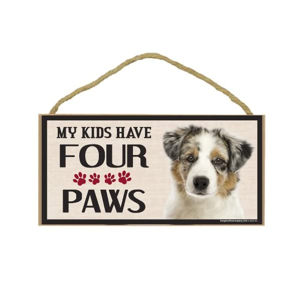 Imagine This Wood Breed Four Paws Sign, Australian Shepherd 1