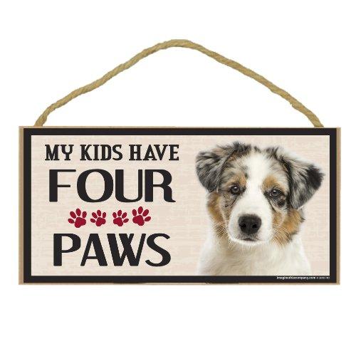 Imagine This Wood Breed Four Paws Sign, Australian Shepherd