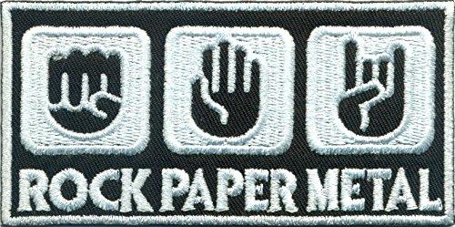 Rock Paper Metal Heavy Metal Zeichensprache Rockabilly Aufn/äher Abzeichen Patch