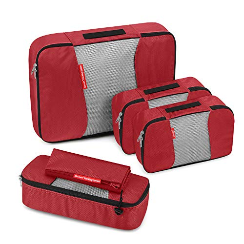 Travel Packing Cubes, Gonex Luggage Organizers L+2S+Slim+Laundry Bag Red