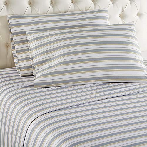 - Micro Flannel Shavel Durable & Luxurious Printed Sheet Set Queen, Flat/Fitted Sheet 92x108/80x60x18; 2-Piece Pillowcase 21x32 - Metro Stripe.