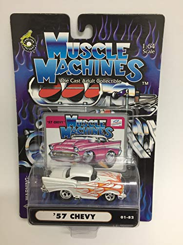 - Muscle Machines Die Cast Adult Collectible 57 Chevy with with Flames Hot Rod