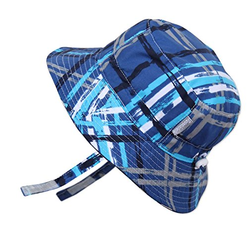 Kids Summer Quick Dry Swim Sun Hats 50 UPF, Adjustable Foldable Packable (L: 15m - 5Y, Blue Plaid - Velco Chinstrape)