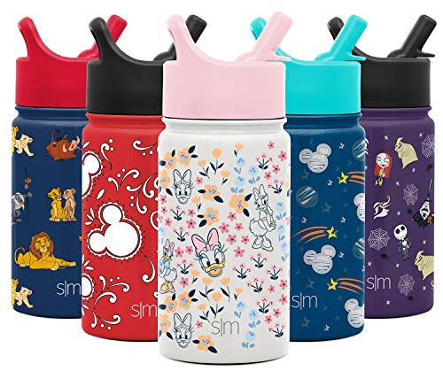 Simple Modern Kids Insulated Cup with Lid and Silicone Straw Stainless Steel Flask Metal Thermos for Toddlers Boys and Girls, 14oz Water Bottle, Daisy Duck Garden