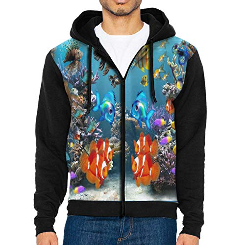 NMCEO Men Hoodie Tropical Fish 3D Screensaver Designer Full Zip with Pocket Sweatshirt Lightweight for Halloween