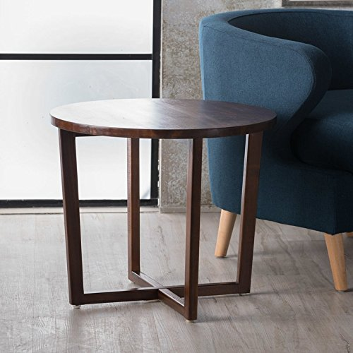 Round Coffee Table End Table Side Table Wood Room Décor End Table Rich Mahogany Color Cocktail Table Furniture Table Top TV Table Living room table -