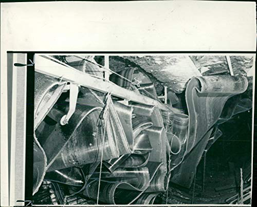 Vintage photo of UK miners39; strike 1984–85,A Sabotage 20-Tonne Conveyor Belt.