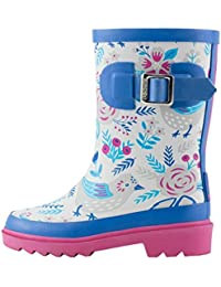 Kids Rubber Rain Boots   Classic Yellow, Green & Navy, Bright Blue & Red, Red & Navy, Sky Blue & Purple, Two-Tone Purple