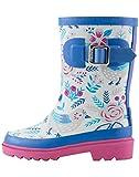 Oakiwear Kids Rubber Rain Boots, Antique Birds, 5T US Toddler