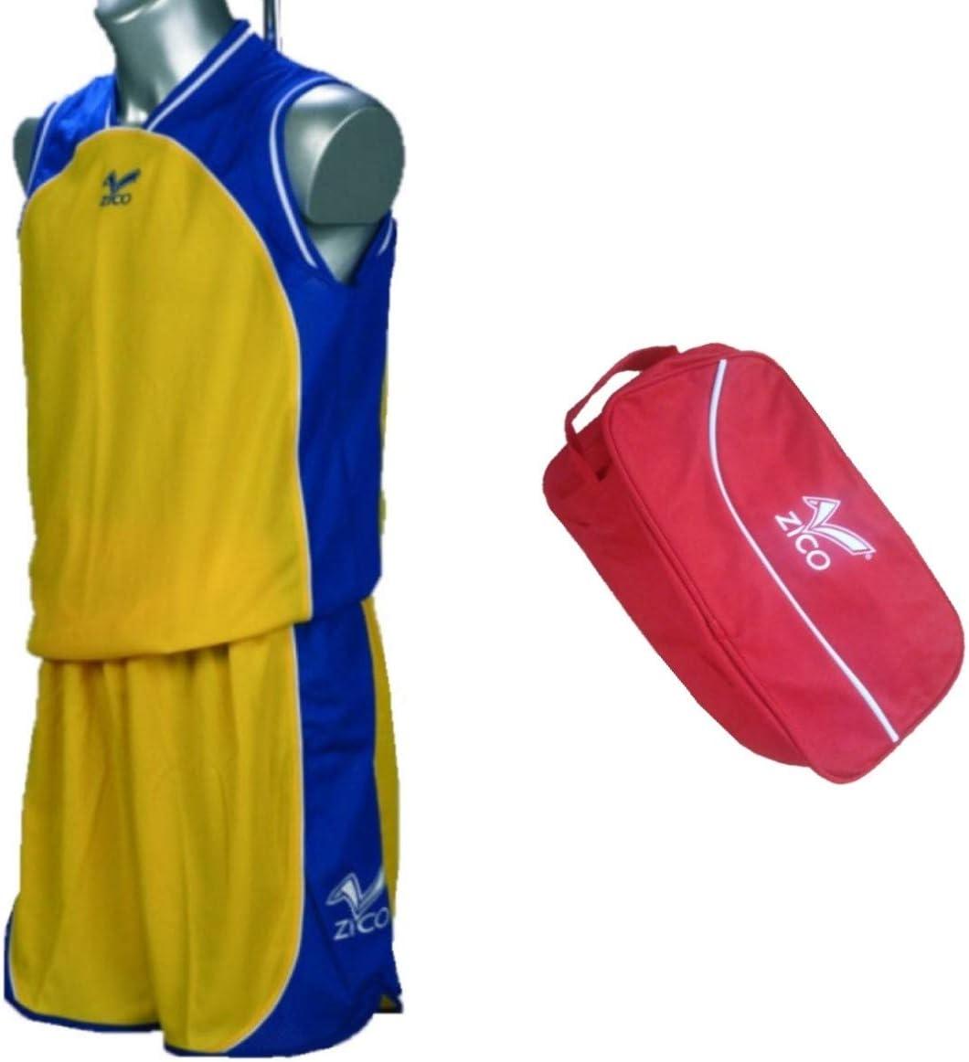 ZICO ESPAÑA Conjunto Baloncesto Amarillo-Azu.l Equipación Camiseta -Pantalón++ZAPATILLERO. Talla-6 Infantil: Amazon.es: Deportes y aire libre