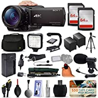 Sony FDR-AX100 4K Ultra HD Handycam Camcorder Video Camera + 128GB Boardcasting Filmmakers Package with LED Night Light + Tripod + Monopod + Action Stabilizer + Handgrip + Microphone + More