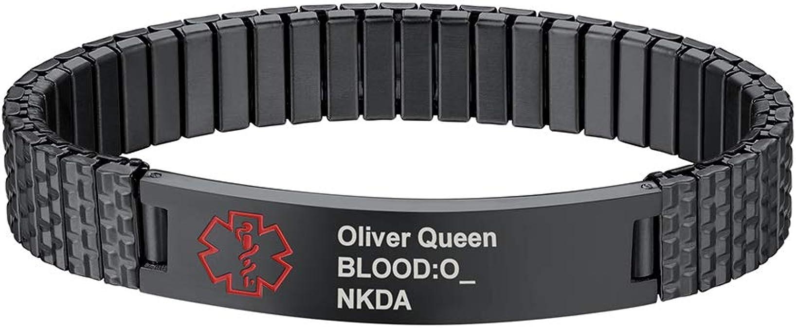 PROSTEEL Men Bracelets Customized Medical Alert Bracelet with Gift Box 18K Gold Plated//Black