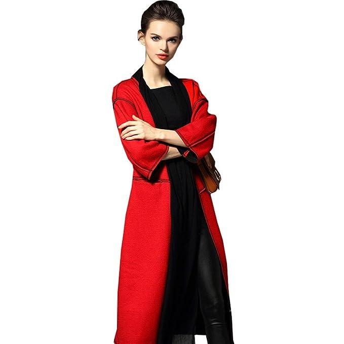 dressvip rojo elegante rodilla longitud 3/4 Manga lana ropa abrigos: Amazon.es: Ropa y accesorios