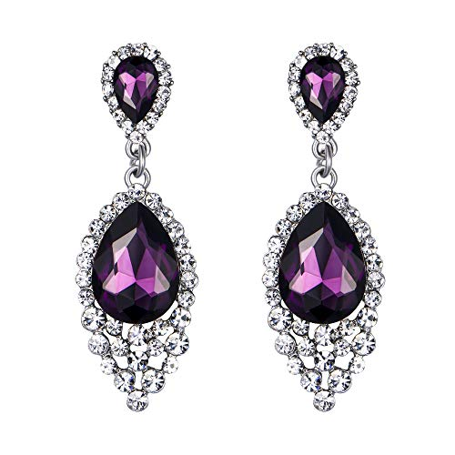 BriLove Wedding Bridal Dangle Earrings for Women Crystal Teardrop Cluster Beads Chandelier Earrings Amethyst Color Silver-Tone