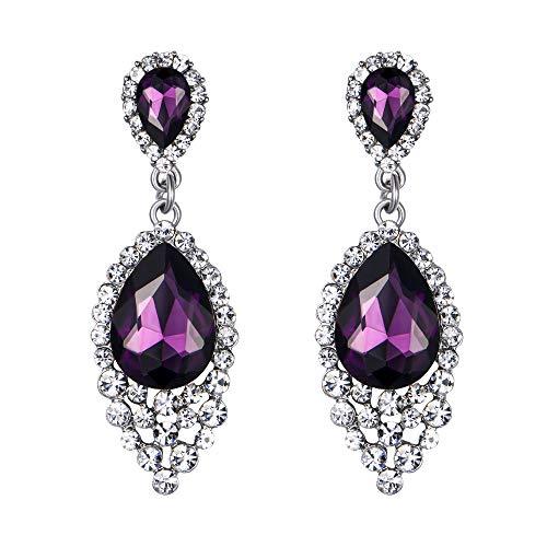 Earrings Chandelier Purple (BriLove Wedding Bridal Dangle Earrings for Women Crystal Teardrop Cluster Beads Chandelier Earrings Amethyst Color Silver-Tone)