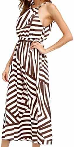 e042e8882b2 Sunward Women Summer Casual Off Shoulder Stripe Sleeveless Loose Beach Maxi  Dress